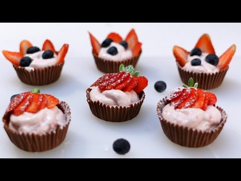 How to Make Strawberry Cheesecake Mousse Chocolate Cups (no bake)