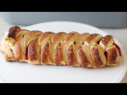 How to Make Braided Strawberry Puff Pastry | Easy Puff Pastry Recipe