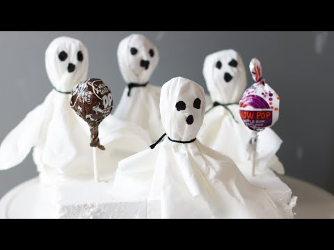 Halloween Ghost Pops | Blow Pop Tootsie Pop Ghosts