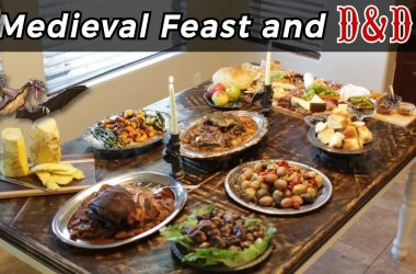 Medieval Feast and D&D table with lots of food on it.
