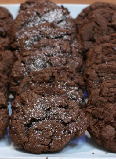 chocolate cookies recipe fifteen chocolate cookies on a white plate