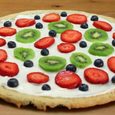 Dessert Pizza on a brown wooden table