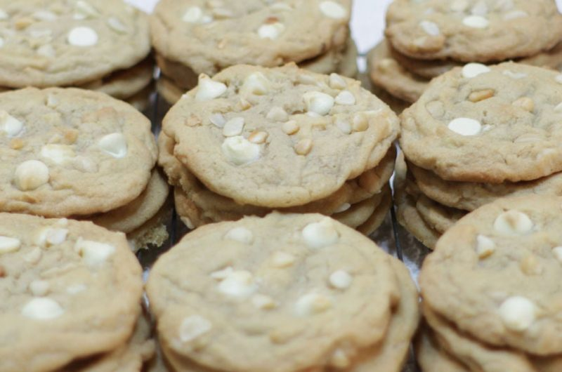 Stacks of white chocolate macadamia nut cookies on a table.