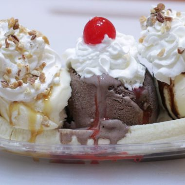 Banana split on a table