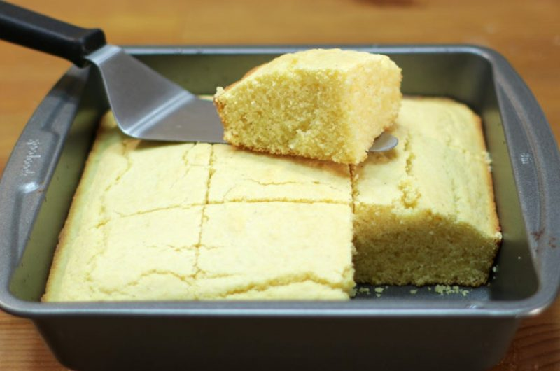 Easy basic cornbread in a square metal pan