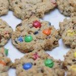White plate full of monster cookies