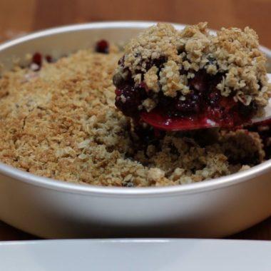 Triple berry crisp in a cake pan
