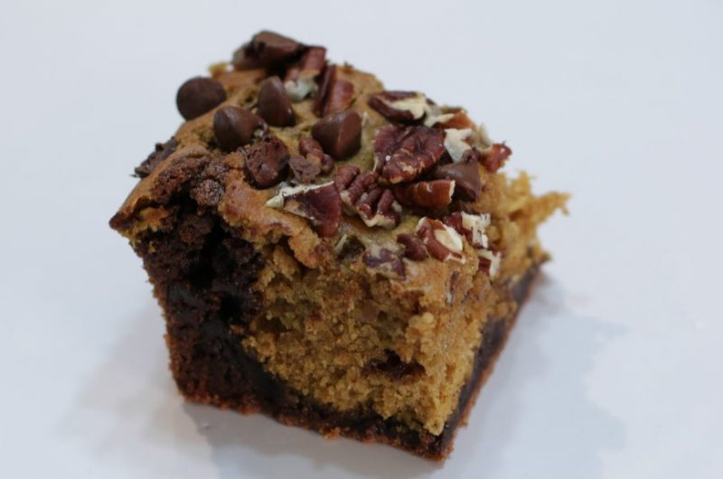 Pumpkin brownies on a white plate.