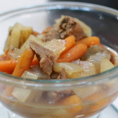 glass bowl full of slow cooker beef stew