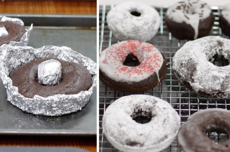 homemade donut pan on a baking sheet next to baked chocolate cake donuts