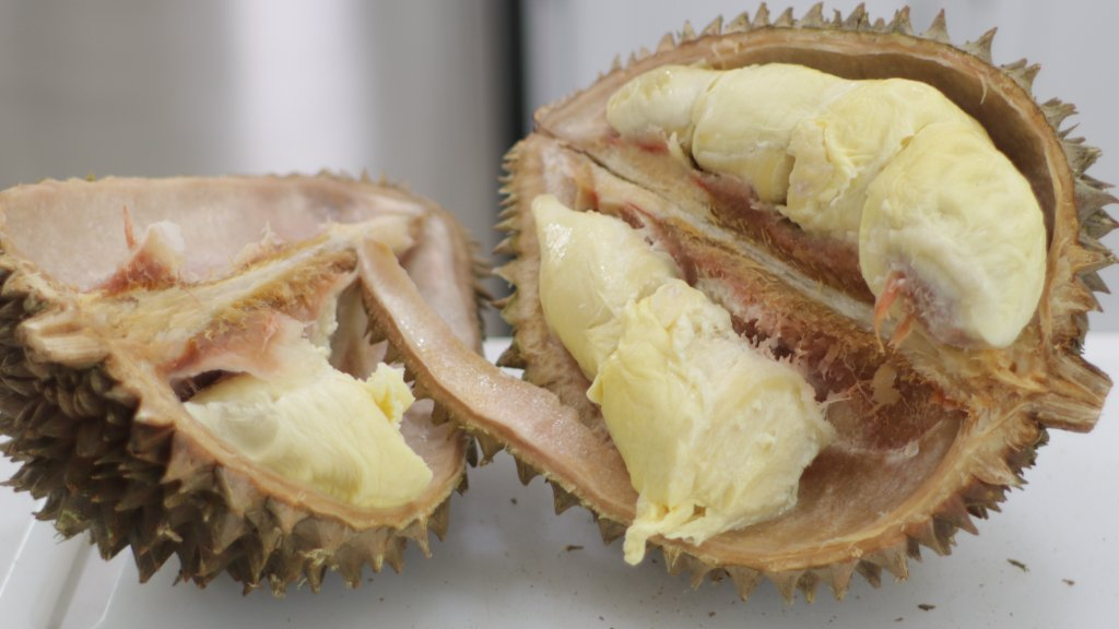 Split open durian fruit on a counter