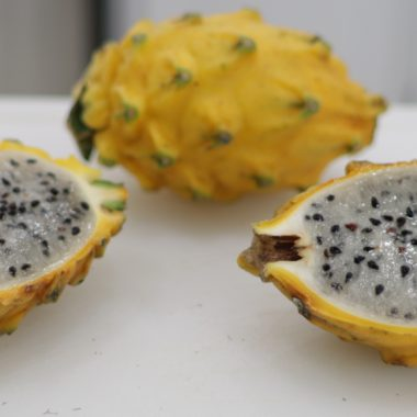 Sliced in half yellow dragon fruit pitaya pitahaya