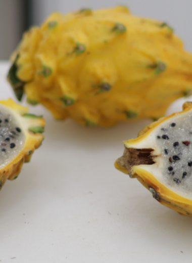 Sliced in half yellow dragon fruit pitaya pitahaya