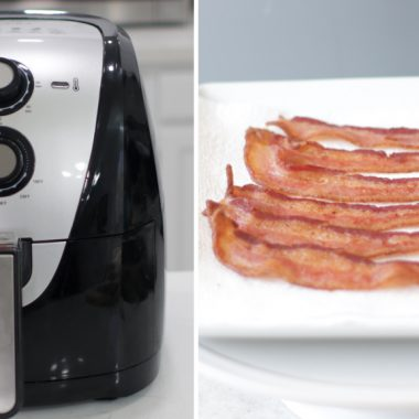 Plate of bacon next to an air fryer
