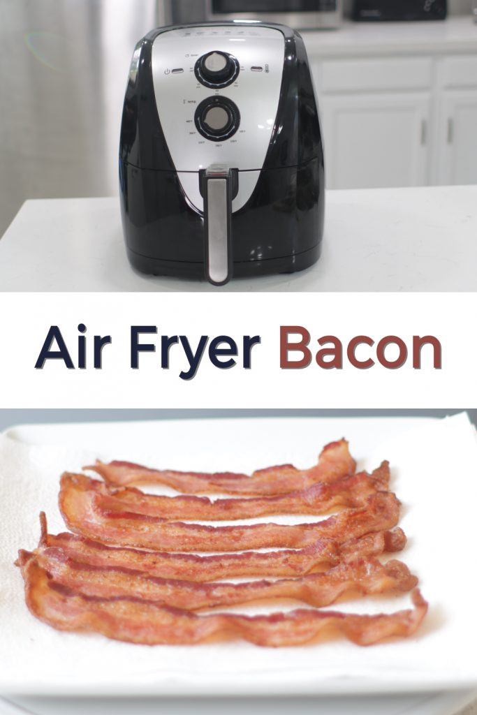 Air fryer bacon pin for Pinterest