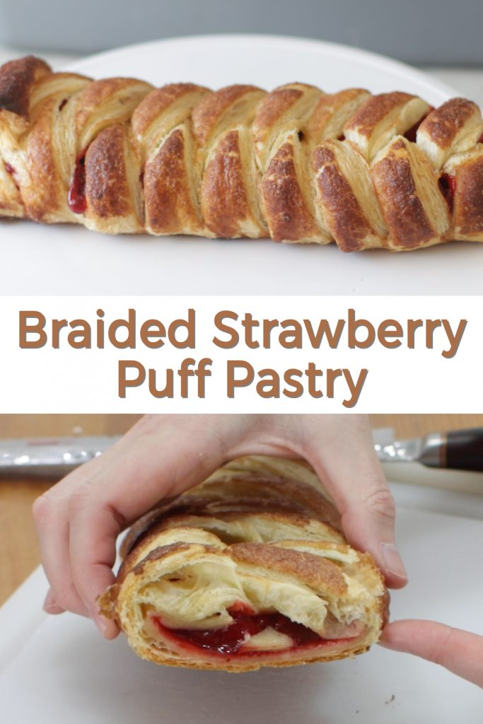 Braided strawberry puff pastry pin for Pinterest.
