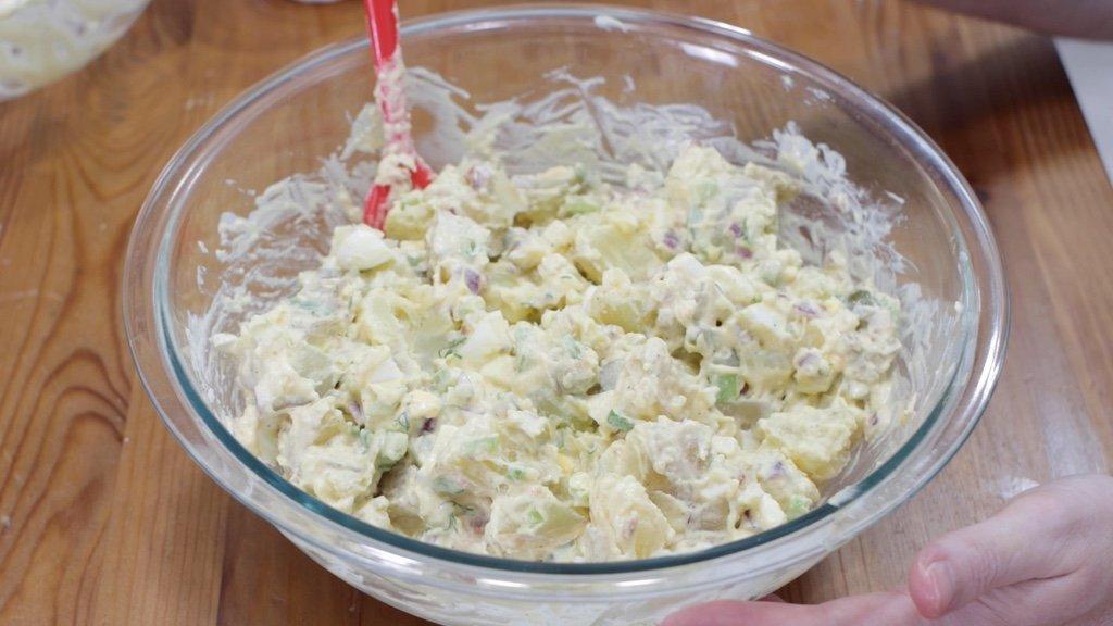 Large bowl of finished potato salad