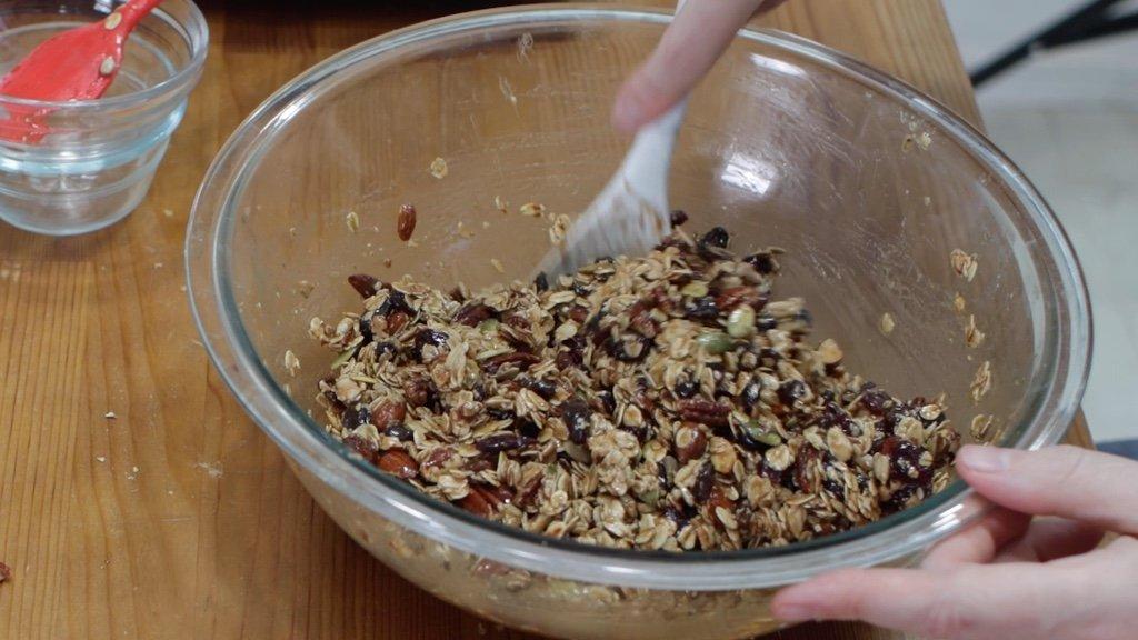 Large bowl of homemade granola bars mixture.