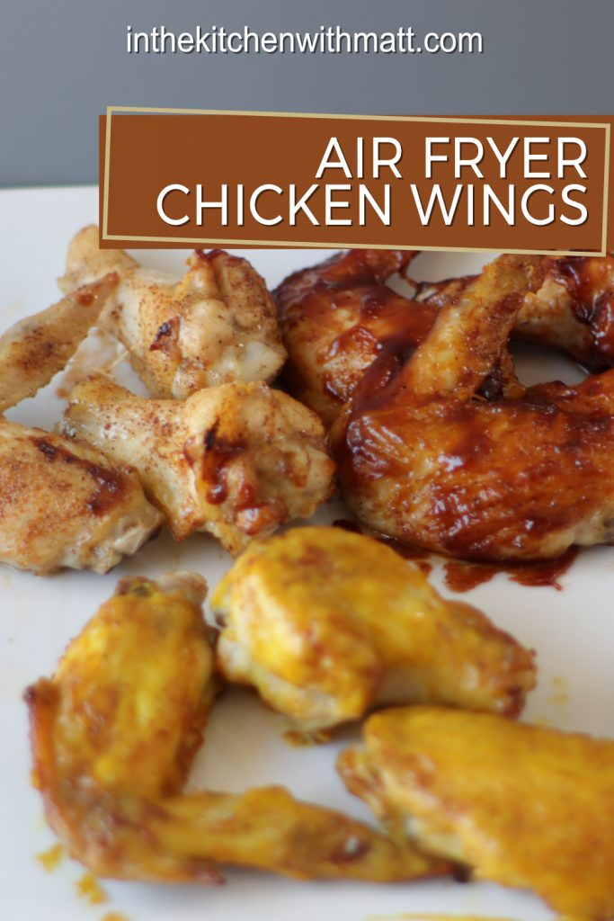 Air fryer chicken wings pin for Pinterest.