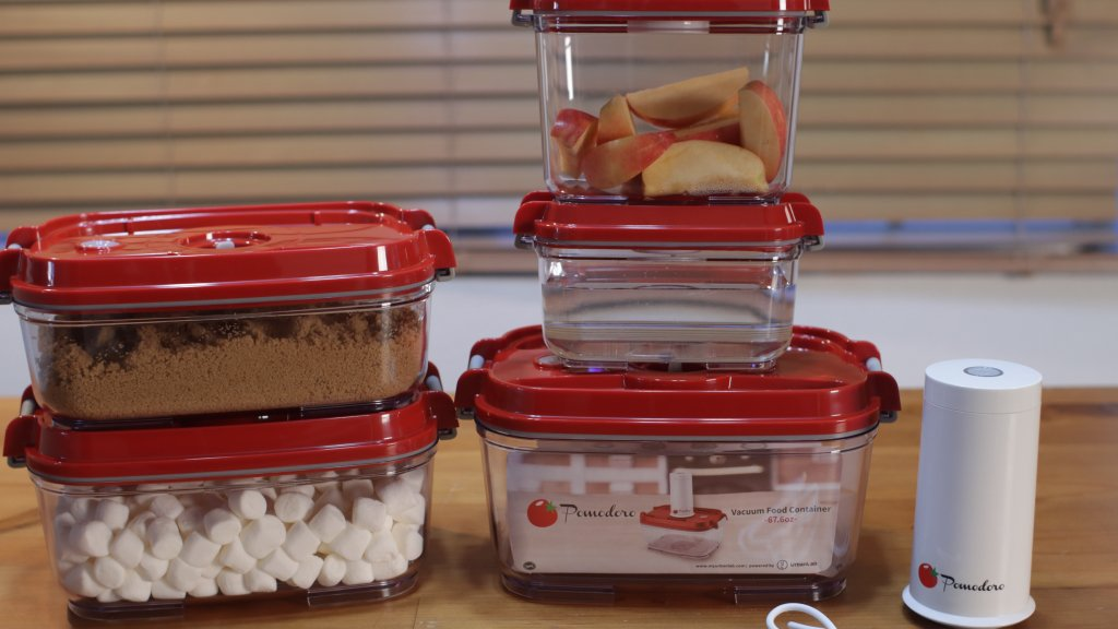 vacuum sealed containers for holding brown sugar, apples, etc.