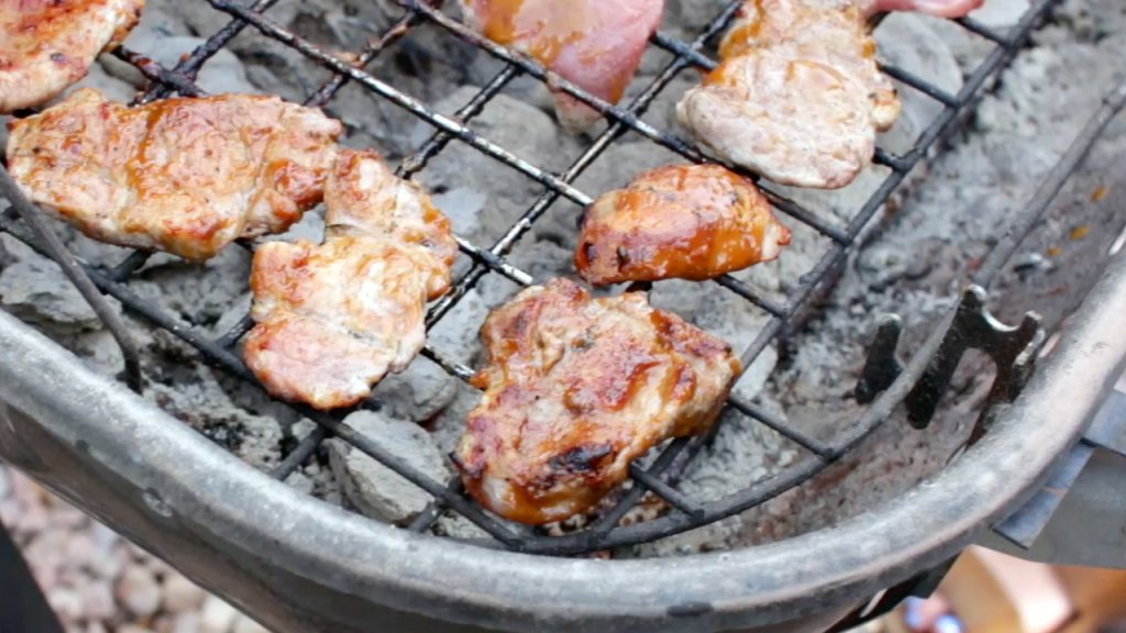 Finished honey mustard pork tenderloin on the grill.