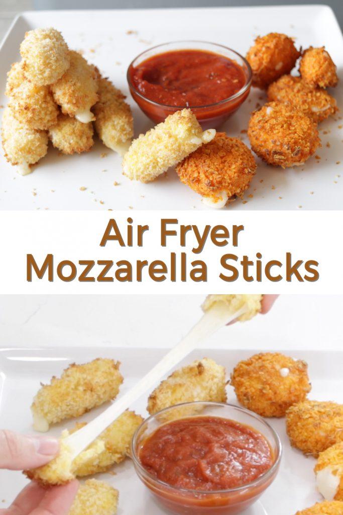 Air fryer mozzarella sticks pin for Pinterest.