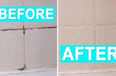 Before and After pictures of black mold in shower