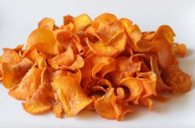 Plate full of sweet potato chips