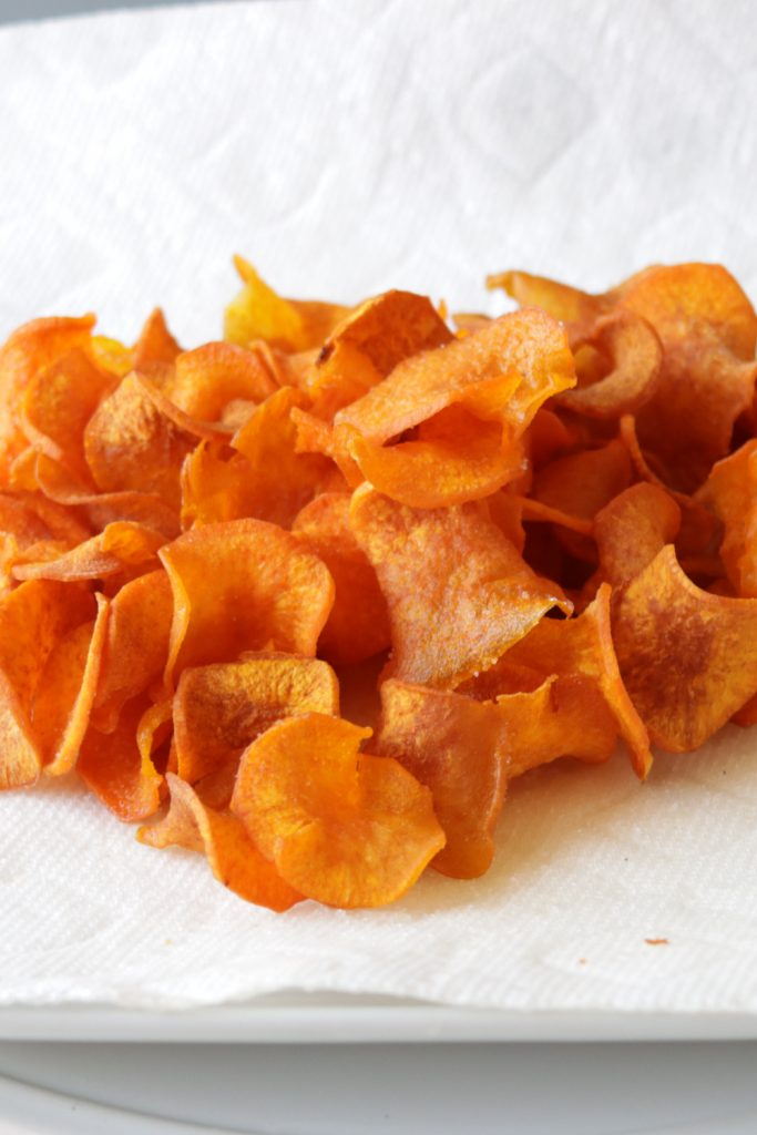 Pile of sweet potato chips on a plate
