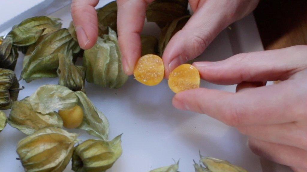 Hand holding a sliced goldenberry.