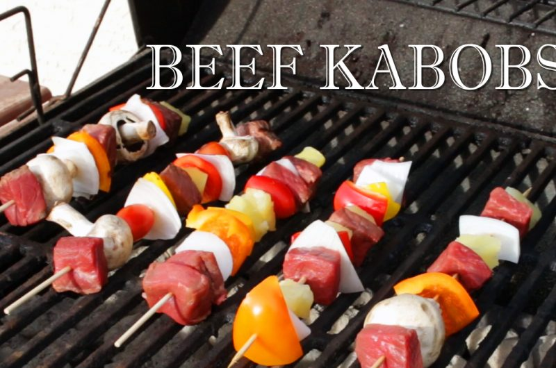 Beef kebabs on a grill
