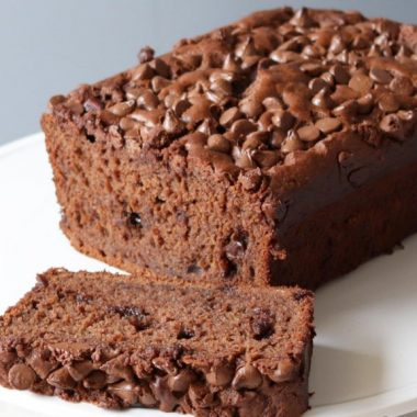 chocolate banana bread on a white plate.