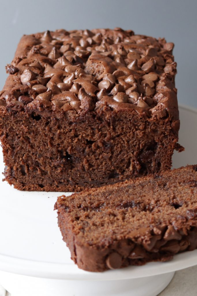 Chocolate banana bread on a white plate