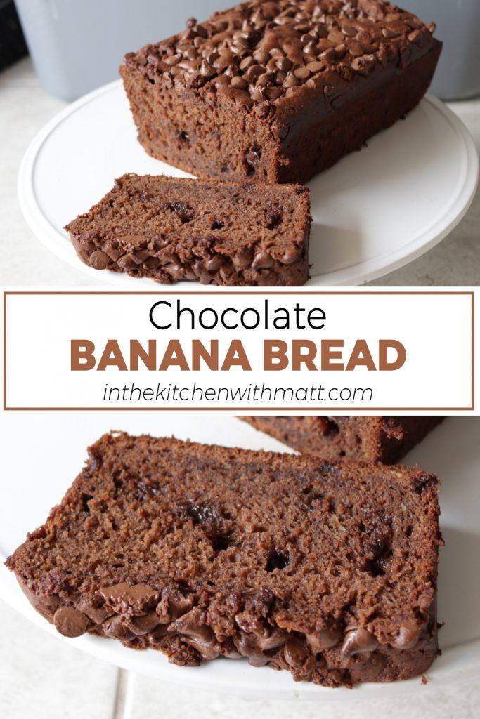 Chocolate banana bread pin for Pinterest