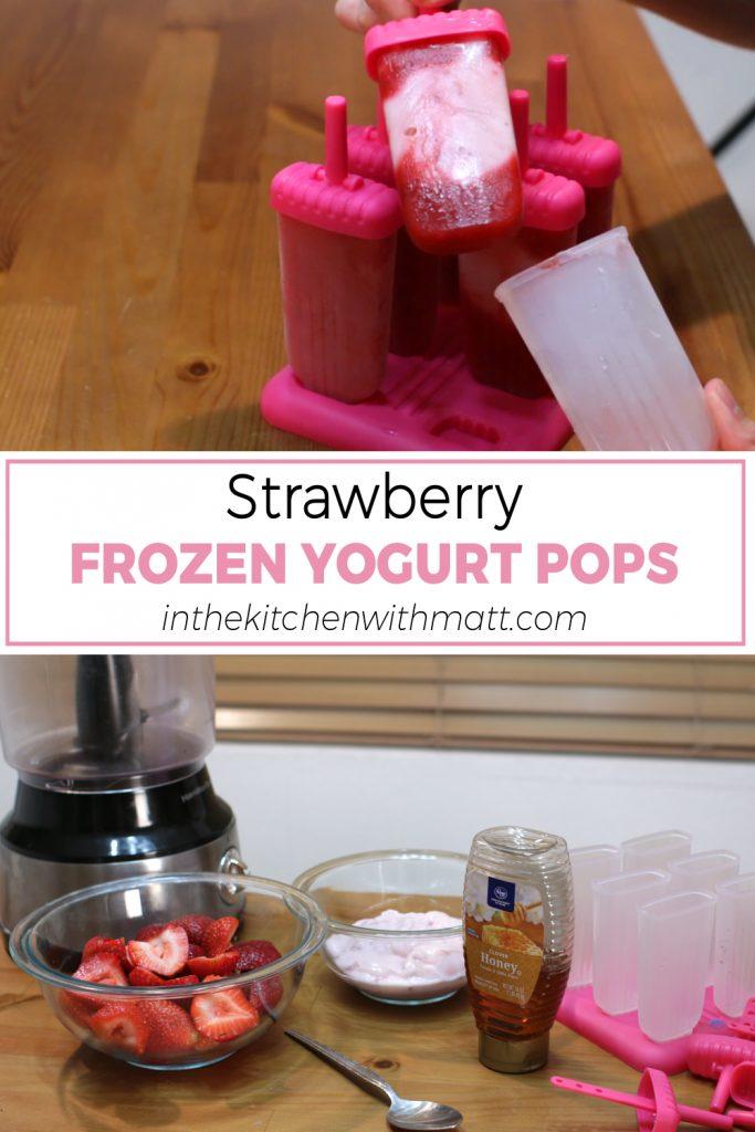 Strawberry frozen yogurt pops pin for Pinterest