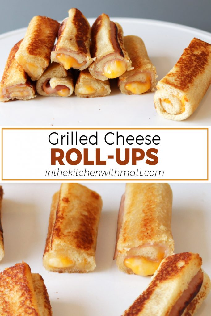 Grilled cheese roll ups pin for Pinterest