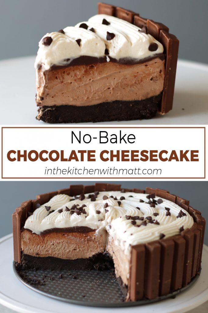 No-Bake chocolate cheesecake pin for Pinterest