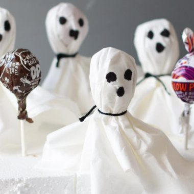 Halloween ghost pops on a piece of styrofoam